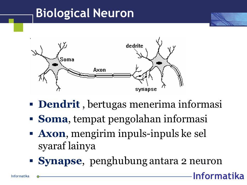 Informatika Biological Neuron  Dendrit, bertugas menerima informasi  Soma, tempat pengolahan informasi  Axon, mengirim inpuls-inpuls ke sel syaraf