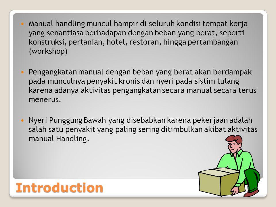 Definition Definisi Adalah segala aktivitas yang berhubungan dengan transporting atau supporting 'sesuatu beban' oleh satu atau lebih pekerja Pekerjaan yang dimaksud adalah : 1.Lifting (mengangkat) 2.Holding (menahan) 3.Pushing (mendorong) 4.Pulling (menarik) 5.Carrying or Moving(membawa / memindahkan) Beban yang dimaksud disini adalah beban yang bisa bergerak (manusia, hewan) atau tak-bergerak (box, tools dll) Manual handling juga biasa disebut dengan 'manual material handling' (MMH) atau perlakuan material secara manual