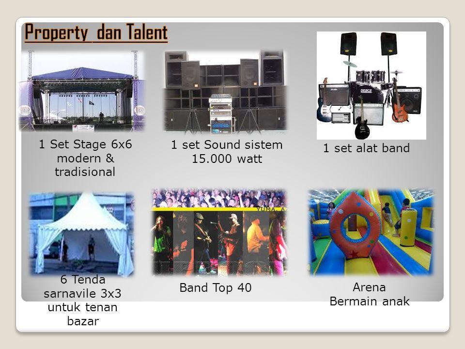 1 Set Stage 6x6 modern & tradisional 1 set Sound sistem 15.000 watt 1 set alat band 6 Tenda sarnavile 3x3 untuk tenan bazar Band Top 40 Arena Bermain anak