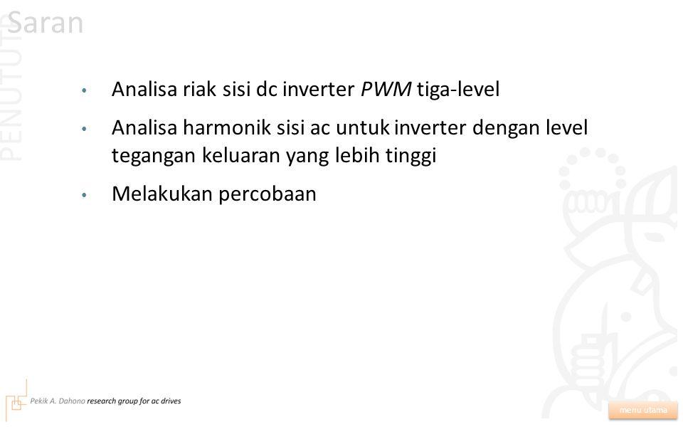 Metoda analisa dan minimisasi harmonik sisi ac inverter PWM tiga-level telah diusulkan dan dibuktikan dengan simulasi. Sinyal modulasi optimum yang da