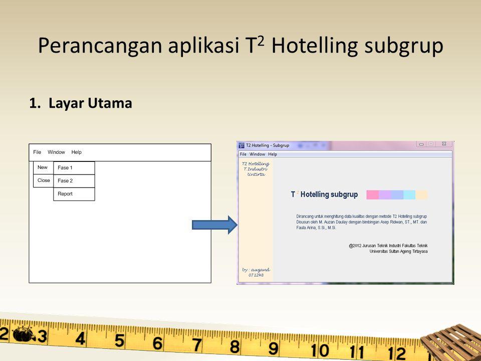 Perancangan aplikasi T 2 Hotelling subgrup 1. Layar Utama