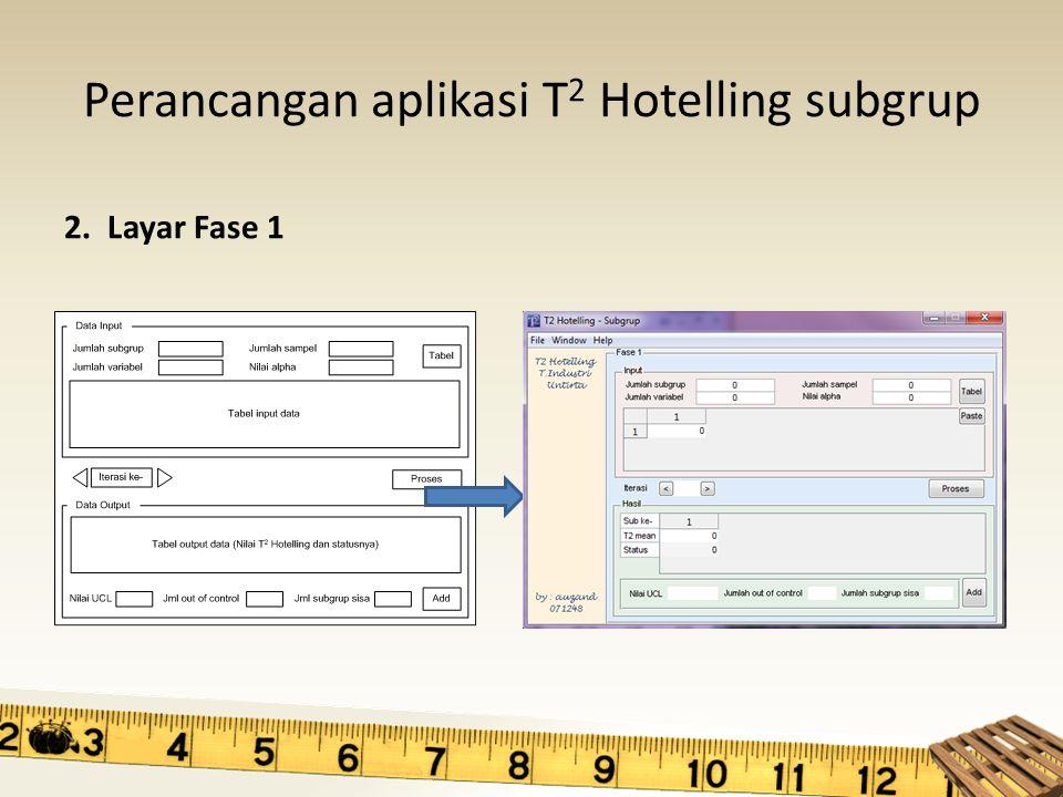 Perancangan aplikasi T 2 Hotelling subgrup 2. Layar Fase 1