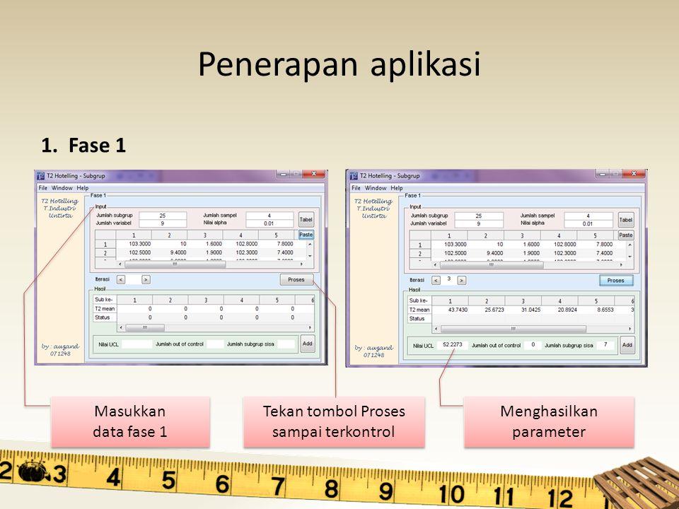 Penerapan aplikasi 1. Fase 1 Masukkan data fase 1 Masukkan data fase 1 Tekan tombol Proses sampai terkontrol Menghasilkan parameter