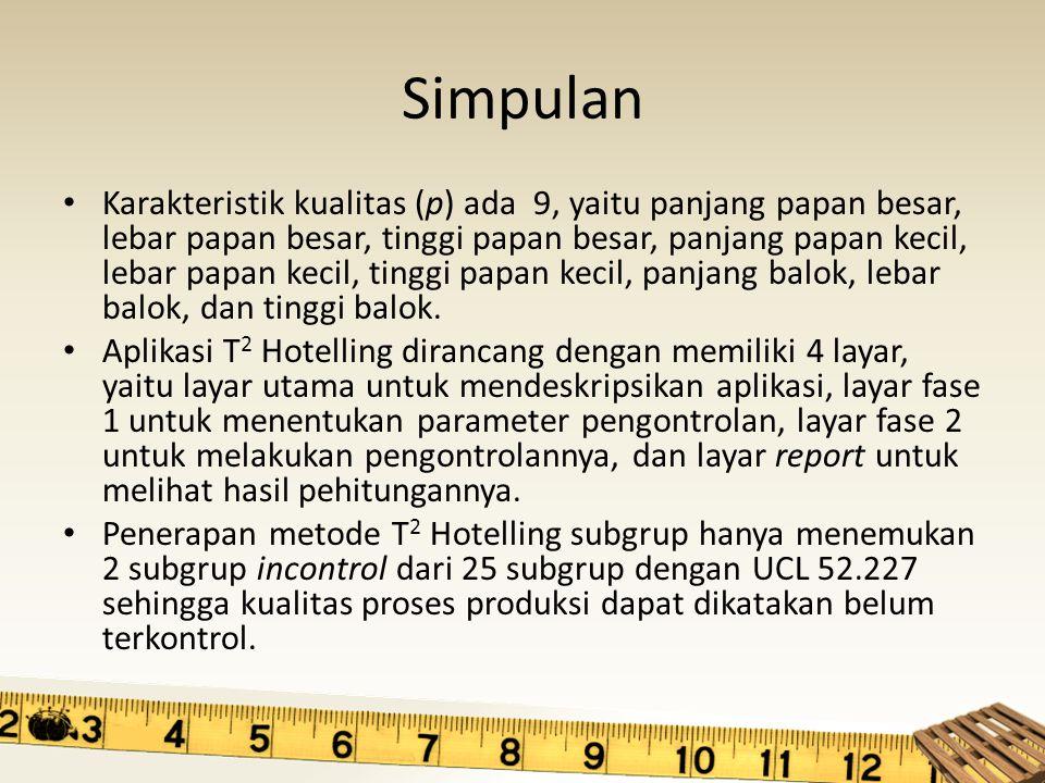 Simpulan Karakteristik kualitas (p) ada 9, yaitu panjang papan besar, lebar papan besar, tinggi papan besar, panjang papan kecil, lebar papan kecil, t