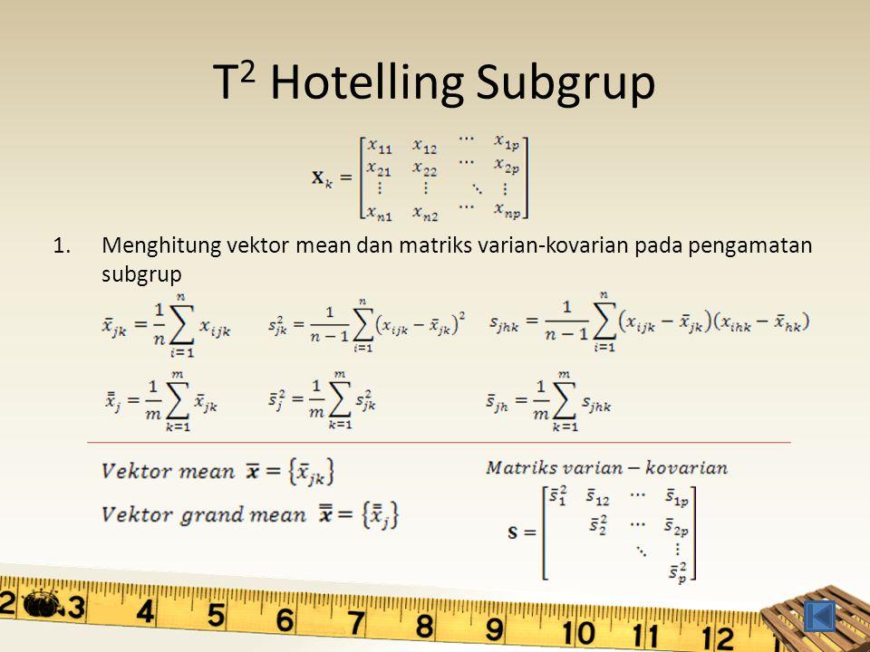 T 2 Hotelling Subgrup 1.Menghitung vektor mean dan matriks varian-kovarian pada pengamatan subgrup