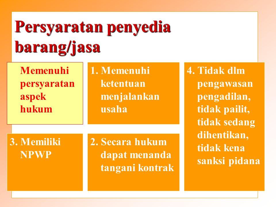Persyaratan penyedia barang/jasa Memenuhi persyaratan kompetensi 1.