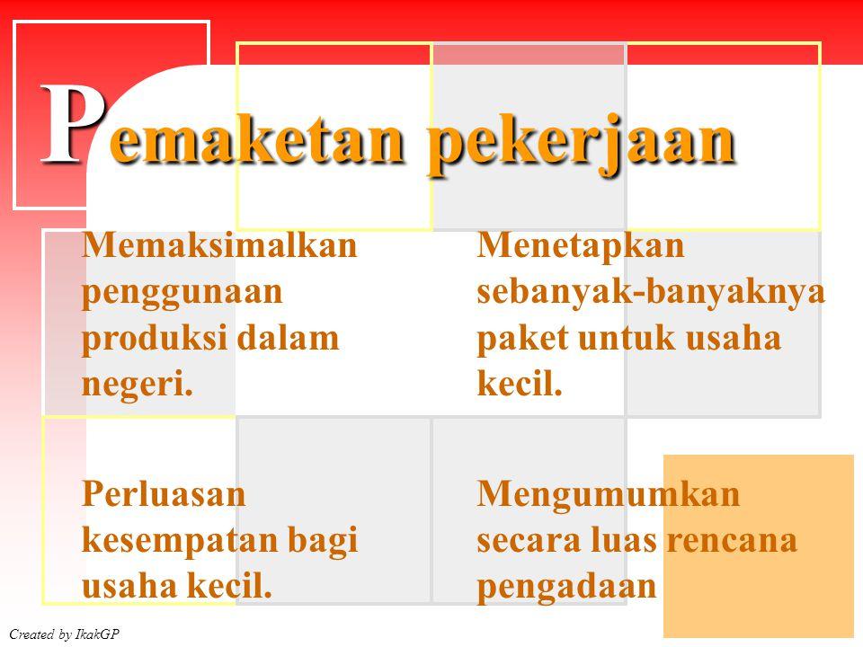 Created by IkakGP Dilarang memecah paket agar tidak lelang Menyatukan atau memusatkan yang tersebar di beberapa daerah P emaketan pekerjaan Menyatukan atau menggabungkan paket pekerjaan yang menurut sifat dan besarannya seharusnya untuk usaha kecil