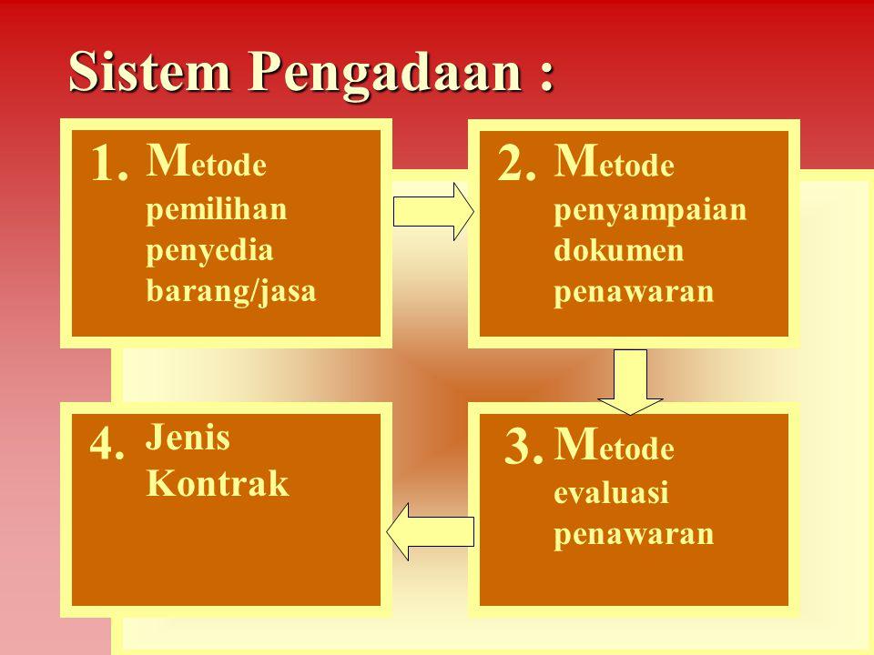 Metode pemilihan penyedia barang/jasa Barang/jasa pemborongan/jasa lainnyaBarang/jasa pemborongan/jasa lainnya 1.