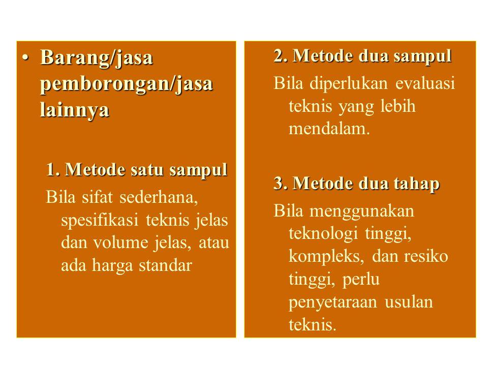 Metode evaluasi penawaran Barang/jasa pemborongan/jasa lainnyaBarang/jasa pemborongan/jasa lainnya 1.