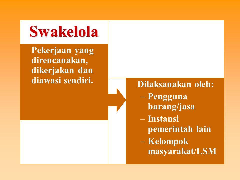 8 Kriteria Swakelola 1.pekerjaan yang bertujuan untuk meningkatkan kemampuan teknis sumber daya manusia instansi pemerintah yang bersangkutan dan sesuai dengan fungsi dan tugas pokok pengguna barang/jasa; dan/atau 3.