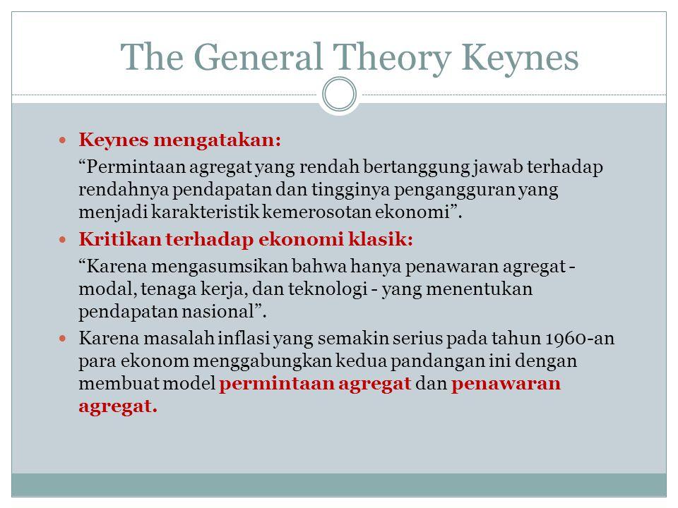 """The General Theory Keynes Keynes mengatakan: """"Permintaan agregat yang rendah bertanggung jawab terhadap rendahnya pendapatan dan tingginya penganggura"""