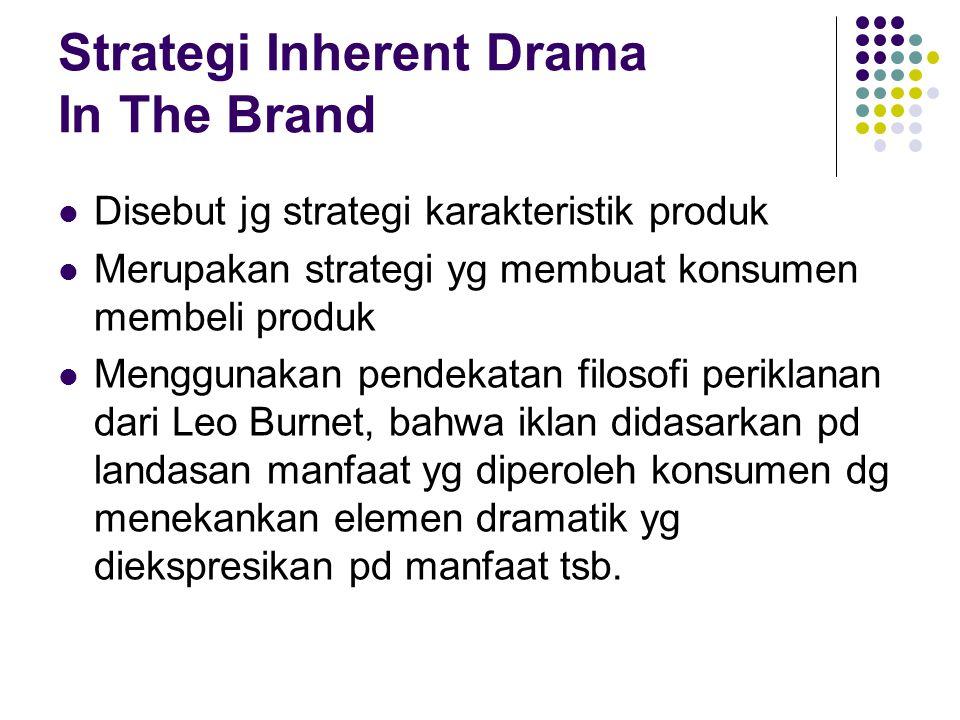 Strategi Inherent Drama In The Brand Disebut jg strategi karakteristik produk Merupakan strategi yg membuat konsumen membeli produk Menggunakan pendek