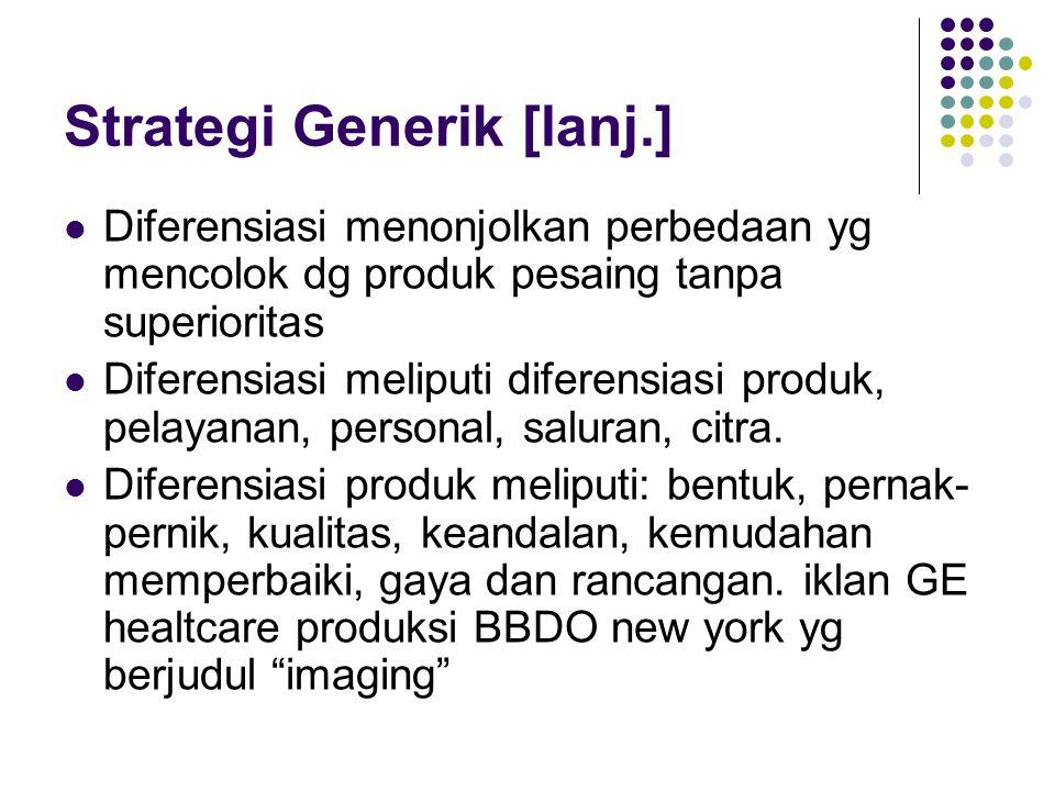 Strategi Generik [lanj.] Diferensiasi menonjolkan perbedaan yg mencolok dg produk pesaing tanpa superioritas Diferensiasi meliputi diferensiasi produk