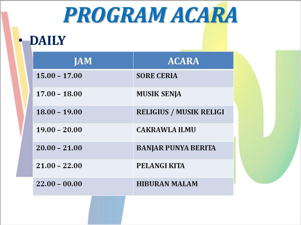 PROGRAM ACARA DAILY JAMACARA 15.00 – 17.00SORE CERIA 17.00 – 18.00MUSIK SENJA 18.00 – 19.00RELIGIUS / MUSIK RELIGI 19.00 – 20.00CAKRAWLA ILMU 20.00 –