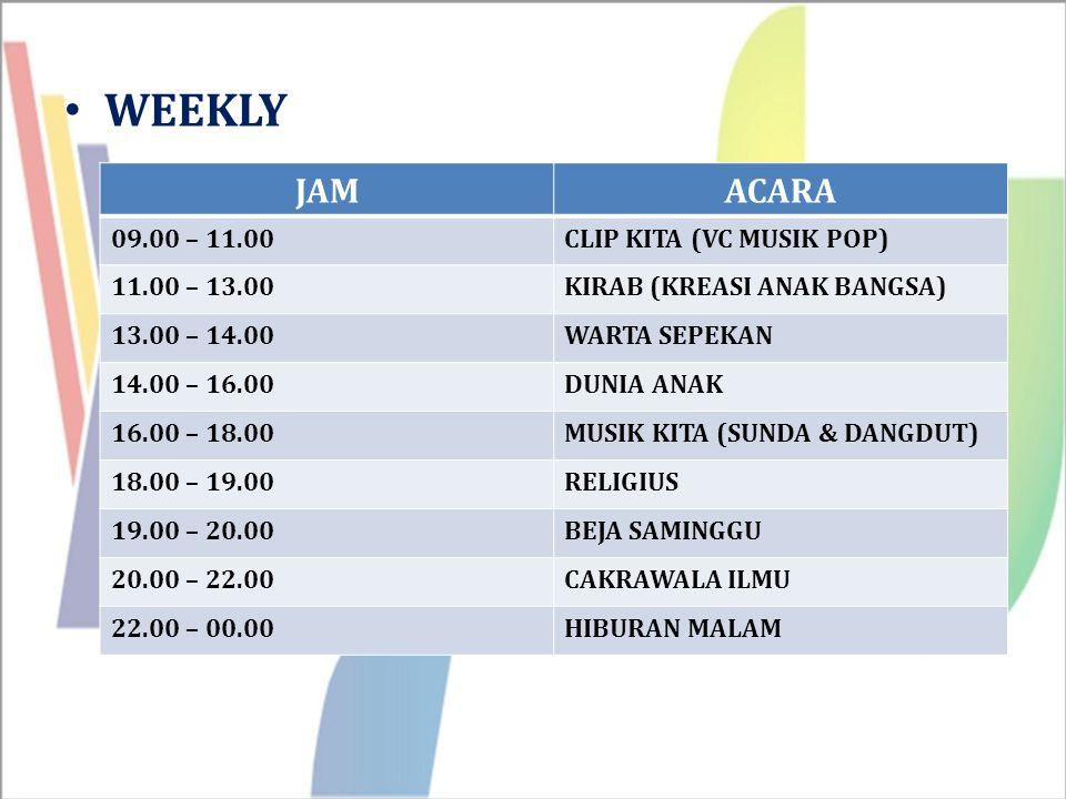 WEEKLY JAMACARA 09.00 – 11.00CLIP KITA (VC MUSIK POP) 11.00 – 13.00KIRAB (KREASI ANAK BANGSA) 13.00 – 14.00WARTA SEPEKAN 14.00 – 16.00DUNIA ANAK 16.00