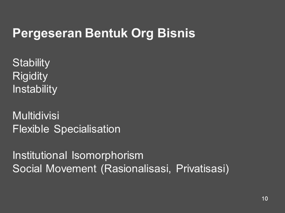 10 Pergeseran Bentuk Org Bisnis Stability Rigidity Instability Multidivisi Flexible Specialisation Institutional Isomorphorism Social Movement (Rasionalisasi, Privatisasi)