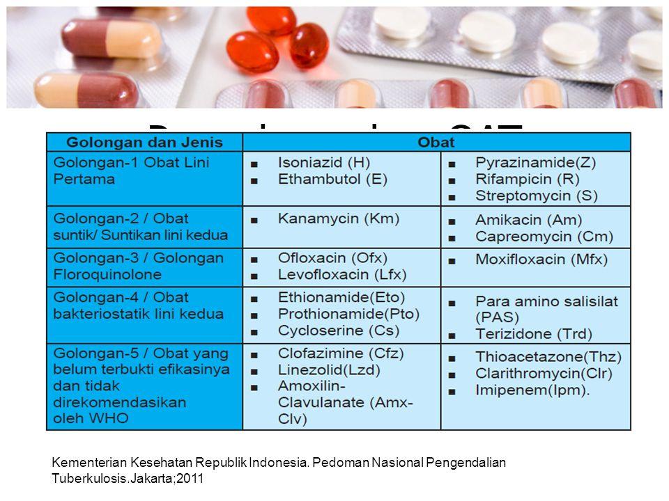 Pengelompokan OAT Kementerian Kesehatan Republik Indonesia. Pedoman Nasional Pengendalian Tuberkulosis.Jakarta;2011