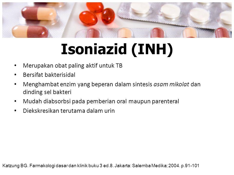 Isoniazid (INH) Merupakan obat paling aktif untuk TB Bersifat bakterisidal Menghambat enzim yang beperan dalam sintesis asam mikolat dan dinding sel b
