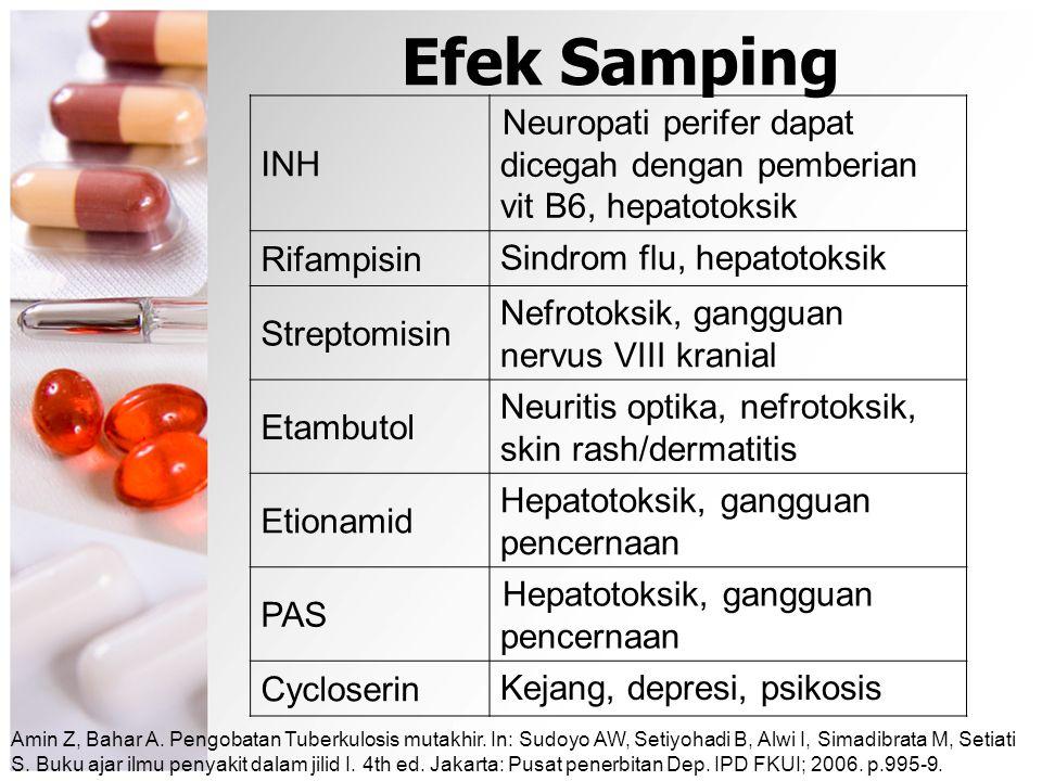 Efek Samping INH Neuropati perifer dapat dicegah dengan pemberian vit B6, hepatotoksik Rifampisin Sindrom flu, hepatotoksik Streptomisin Nefrotoksik,