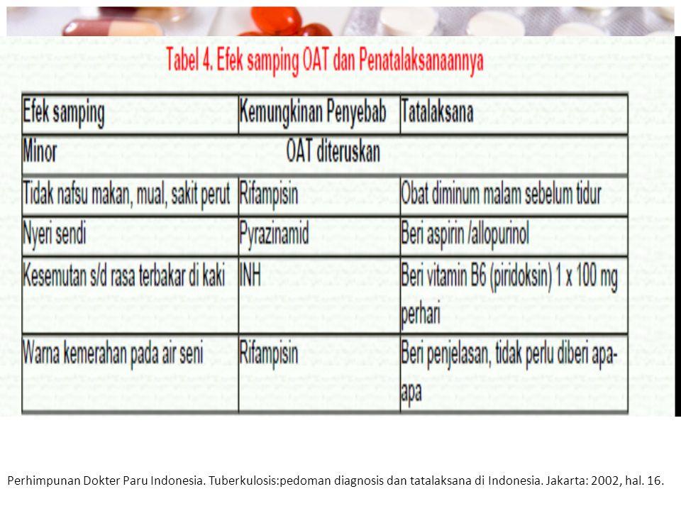 Perhimpunan Dokter Paru Indonesia. Tuberkulosis:pedoman diagnosis dan tatalaksana di Indonesia. Jakarta: 2002, hal. 16.