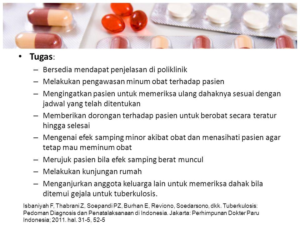 Tugas : – Bersedia mendapat penjelasan di poliklinik – Melakukan pengawasan minum obat terhadap pasien – Mengingatkan pasien untuk memeriksa ulang dah