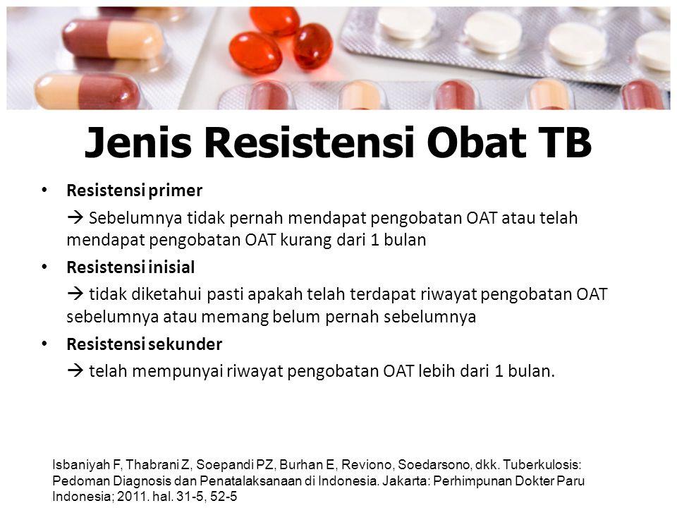 Jenis Resistensi Obat TB Resistensi primer  Sebelumnya tidak pernah mendapat pengobatan OAT atau telah mendapat pengobatan OAT kurang dari 1 bulan Re