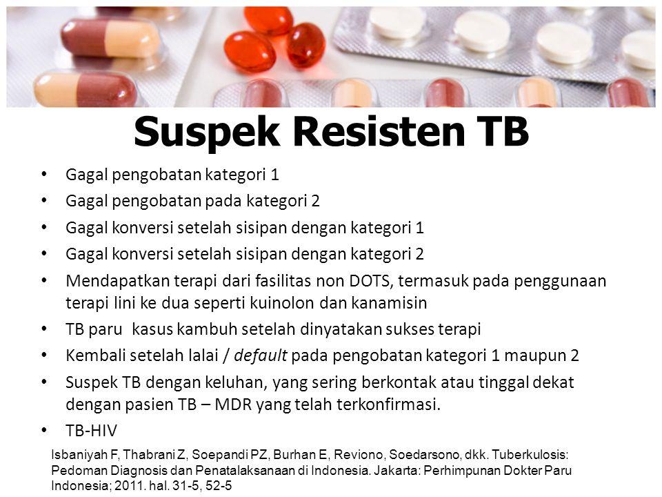 Suspek Resisten TB Gagal pengobatan kategori 1 Gagal pengobatan pada kategori 2 Gagal konversi setelah sisipan dengan kategori 1 Gagal konversi setela