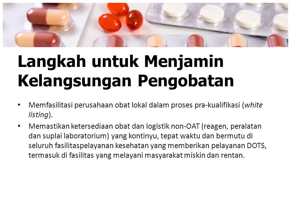 Langkah untuk Menjamin Kelangsungan Pengobatan Memfasilitasi perusahaan obat lokal dalam proses pra-kualifikasi (white listing). Memastikan ketersedia