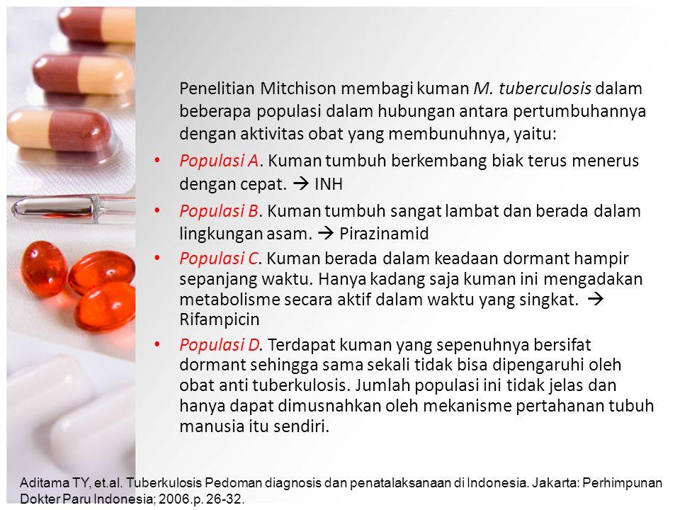 Penelitian Mitchison membagi kuman M. tuberculosis dalam beberapa populasi dalam hubungan antara pertumbuhannya dengan aktivitas obat yang membunuhnya