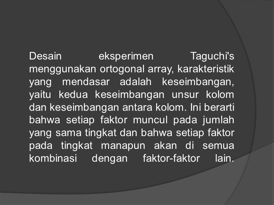 Desain eksperimen Taguchi s menggunakan ortogonal array, karakteristik yang mendasar adalah keseimbangan, yaitu kedua keseimbangan unsur kolom dan keseimbangan antara kolom.