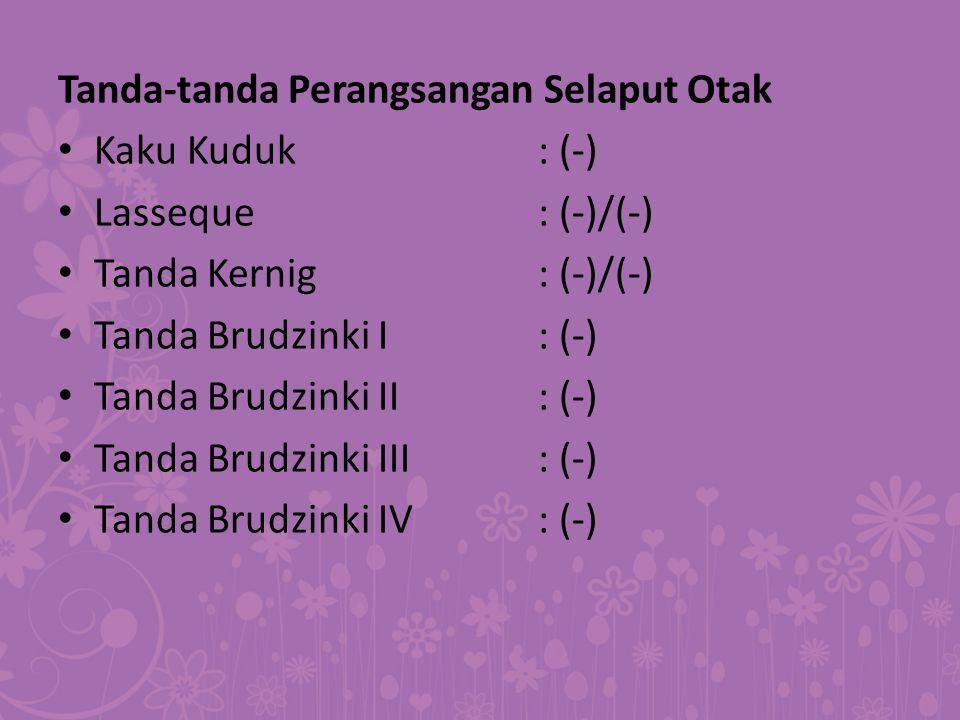 Tanda-tanda Perangsangan Selaput Otak Kaku Kuduk: (-) Lasseque: (-)/(-) Tanda Kernig: (-)/(-) Tanda Brudzinki I: (-) Tanda Brudzinki II: (-) Tanda Bru