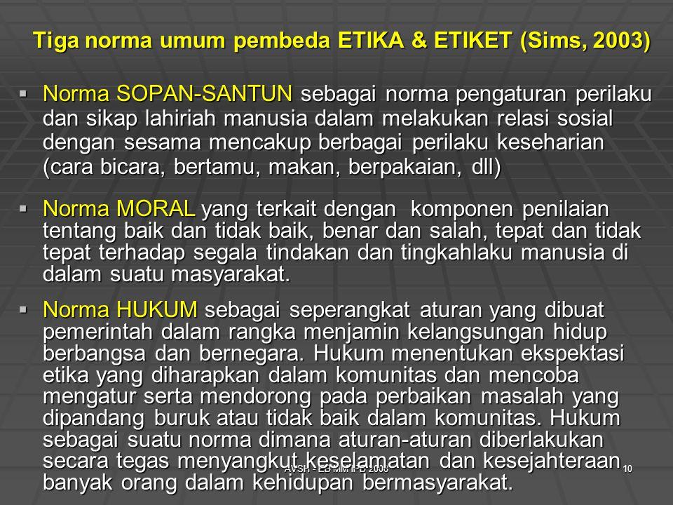 AVSH - EB MM IPB 200810 Tiga norma umum pembeda ETIKA & ETIKET (Sims, 2003)  Norma SOPAN-SANTUN sebagai norma pengaturan perilaku dan sikap lahiriah manusia dalam melakukan relasi sosial dengan sesama mencakup berbagai perilaku keseharian (cara bicara, bertamu, makan, berpakaian, dll)  Norma MORAL yang terkait dengan komponen penilaian tentang baik dan tidak baik, benar dan salah, tepat dan tidak tepat terhadap segala tindakan dan tingkahlaku manusia di dalam suatu masyarakat.