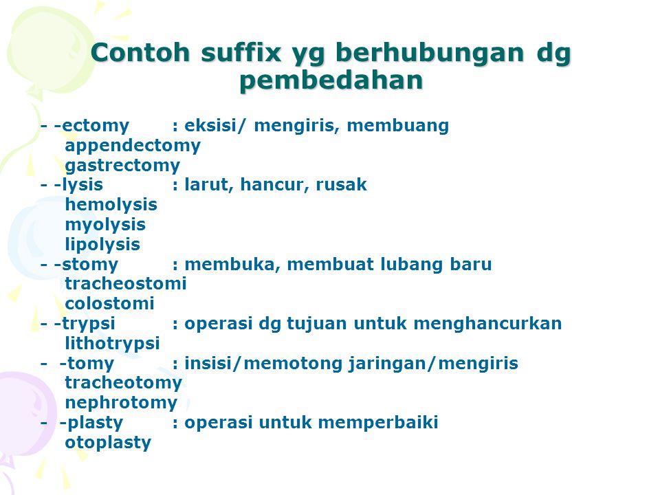Contoh suffix yg berhubungan dg pembedahan - -ectomy : eksisi/ mengiris, membuang appendectomy gastrectomy - -lysis: larut, hancur, rusak hemolysis myolysis lipolysis - -stomy : membuka, membuat lubang baru tracheostomi colostomi - -trypsi: operasi dg tujuan untuk menghancurkan lithotrypsi - -tomy: insisi/memotong jaringan/mengiris tracheotomy nephrotomy - -plasty: operasi untuk memperbaiki otoplasty