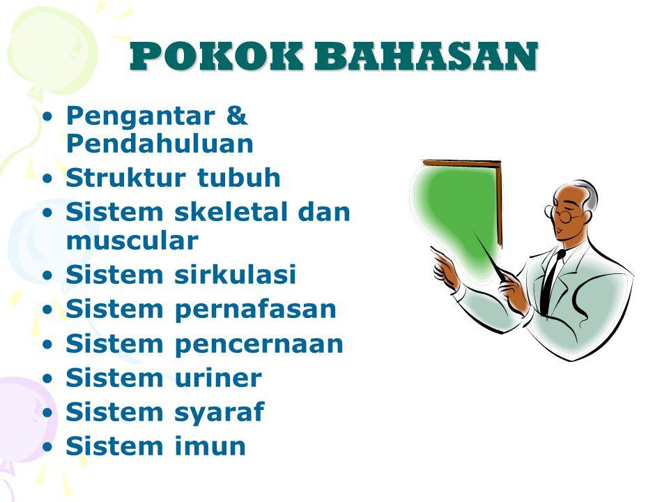 POKOK BAHASAN Pengantar & Pendahuluan Struktur tubuh Sistem skeletal dan muscular Sistem sirkulasi Sistem pernafasan Sistem pencernaan Sistem uriner Sistem syaraf Sistem imun