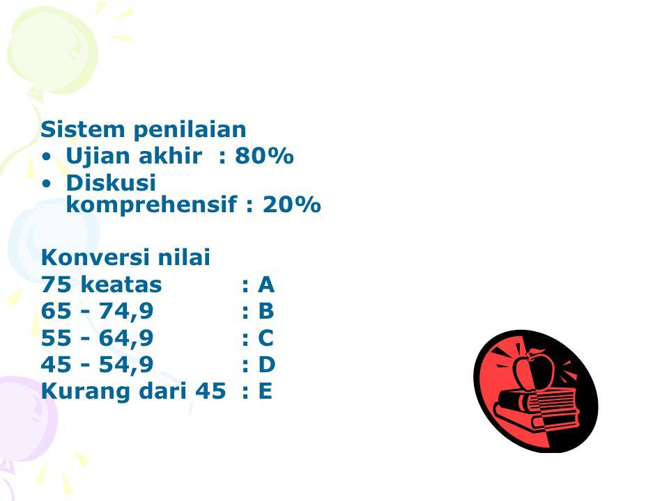 Sistem penilaian Ujian akhir : 80% Diskusi komprehensif : 20% Konversi nilai 75 keatas: A 65 - 74,9: B 55 - 64,9: C 45 - 54,9: D Kurang dari 45: E
