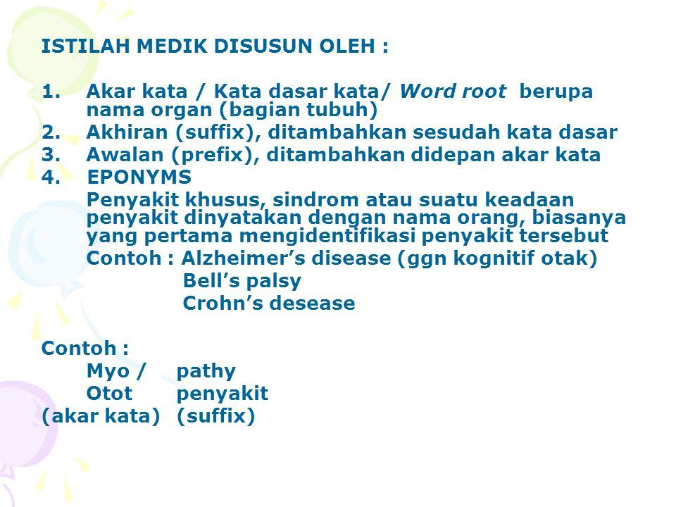 ISTILAH MEDIK DISUSUN OLEH : 1.Akar kata / Kata dasar kata/ Word root berupa nama organ (bagian tubuh) 2.Akhiran (suffix), ditambahkan sesudah kata dasar 3.Awalan (prefix), ditambahkan didepan akar kata 4.