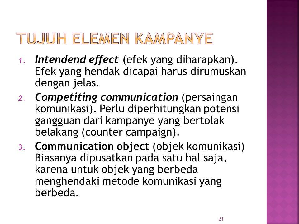 1. Intendend effect (efek yang diharapkan). Efek yang hendak dicapai harus dirumuskan dengan jelas. 2. Competiting communication (persaingan komunikas