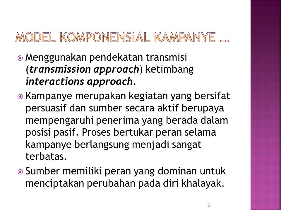  Menggunakan pendekatan transmisi (transmission approach) ketimbang interactions approach.  Kampanye merupakan kegiatan yang bersifat persuasif dan