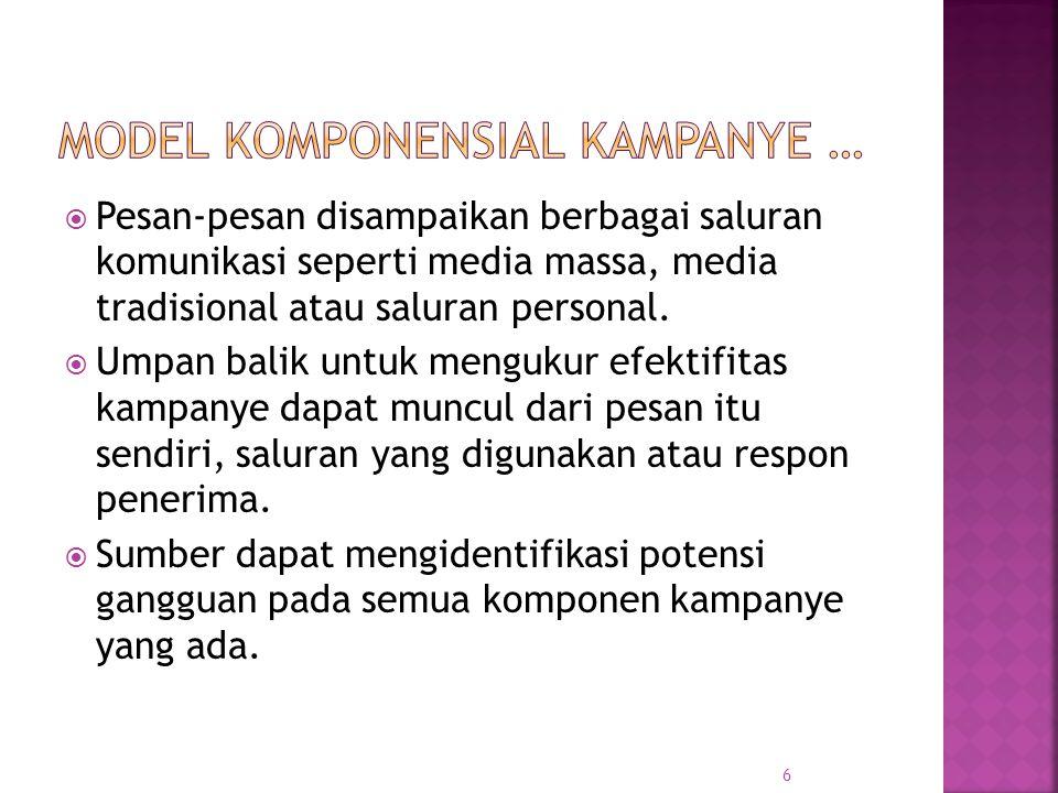  Pesan-pesan disampaikan berbagai saluran komunikasi seperti media massa, media tradisional atau saluran personal.
