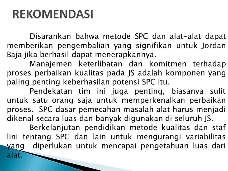 Disarankan bahwa metode SPC dan alat-alat dapat memberikan pengembalian yang signifikan untuk Jordan Baja jika berhasil dapat menerapkannya. Manajemen