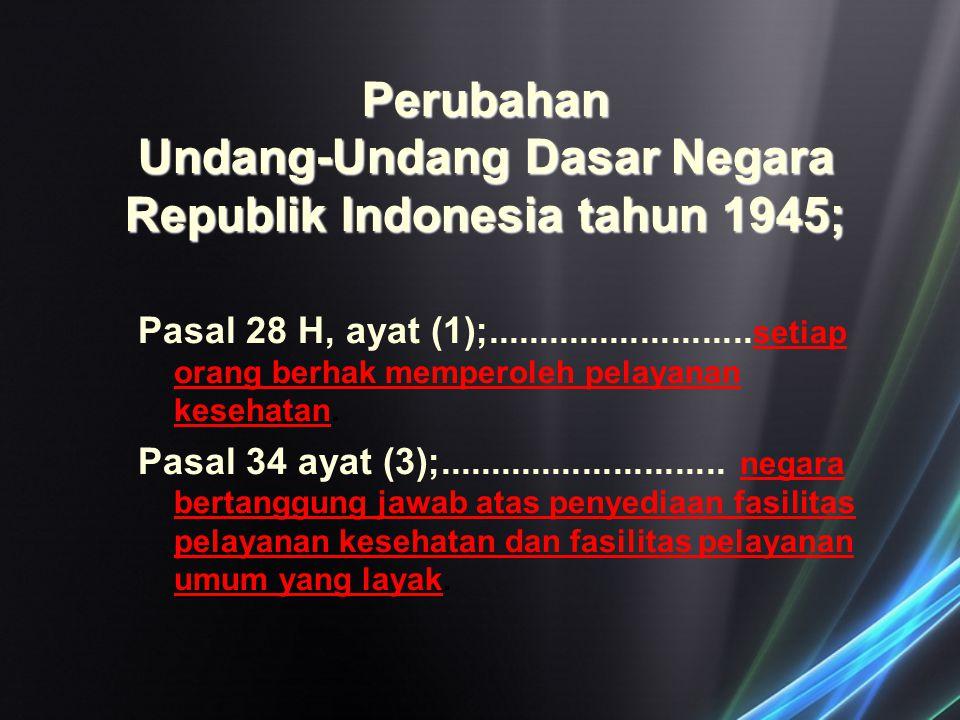 Perubahan Undang-Undang Dasar Negara Republik Indonesia tahun 1945; Pasal 28 H, ayat (1);.......................... setiap orang berhak memperoleh pel