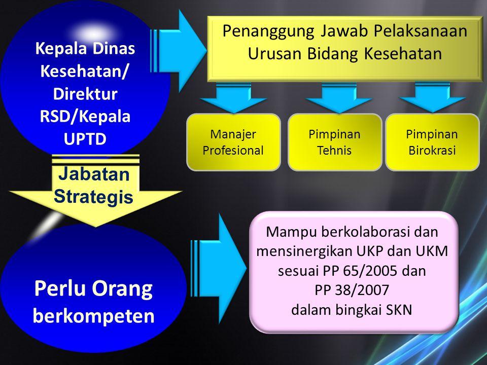 Kepala Dinas Kesehatan/ Direktur RSD/Kepala UPTD Perlu Orang berkompeten Penanggung Jawab Pelaksanaan Urusan Bidang Kesehatan Jabatan Strategis Manaje
