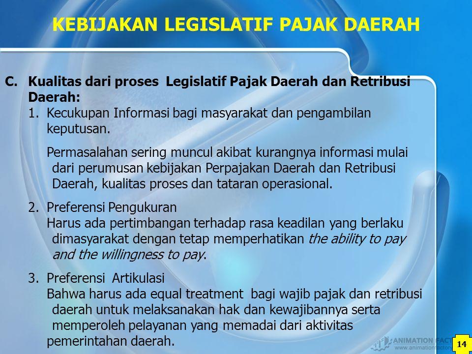 14 KEBIJAKAN LEGISLATIF PAJAK DAERAH C. Kualitas dari proses Legislatif Pajak Daerah dan Retribusi Daerah: 1.Kecukupan Informasi bagi masyarakat dan p