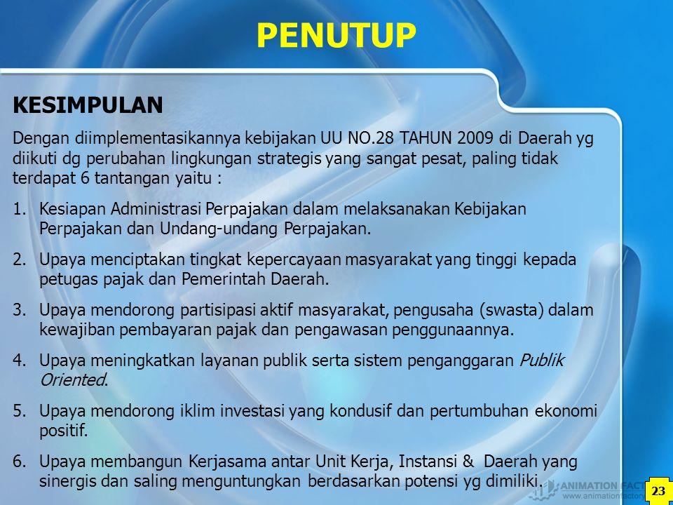 23 Dengan diimplementasikannya kebijakan UU NO.28 TAHUN 2009 di Daerah yg diikuti dg perubahan lingkungan strategis yang sangat pesat, paling tidak te