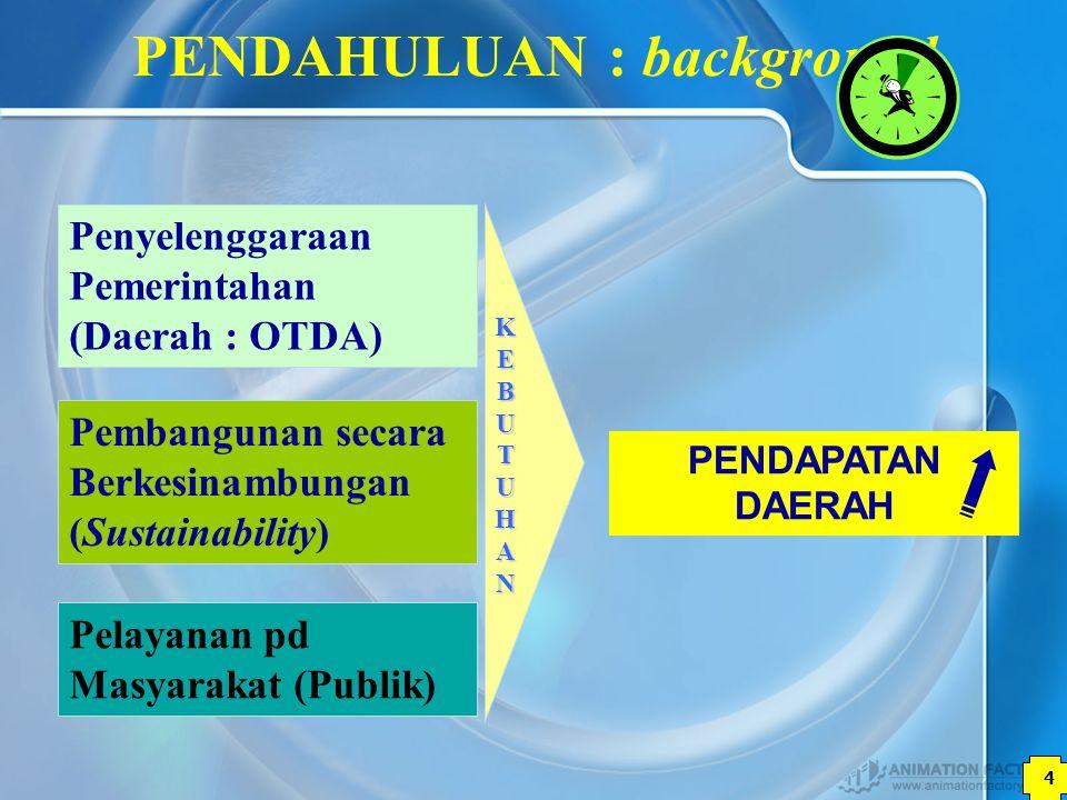 4 PENDAPATAN DAERAH PENDAHULUAN : background Penyelenggaraan Pemerintahan (Daerah : OTDA) KEBUTUHANKEBUTUHANKEBUTUHANKEBUTUHAN Pelayanan pd Masyarakat