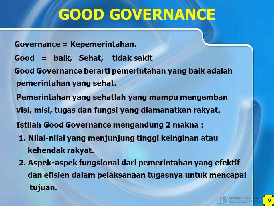 10 GOOD GOVERNANCE 1.PENINGKATAN TATAKELOLA PEMERINTAHAN YANG TRANSPARAN DAN AKUNTABEL.