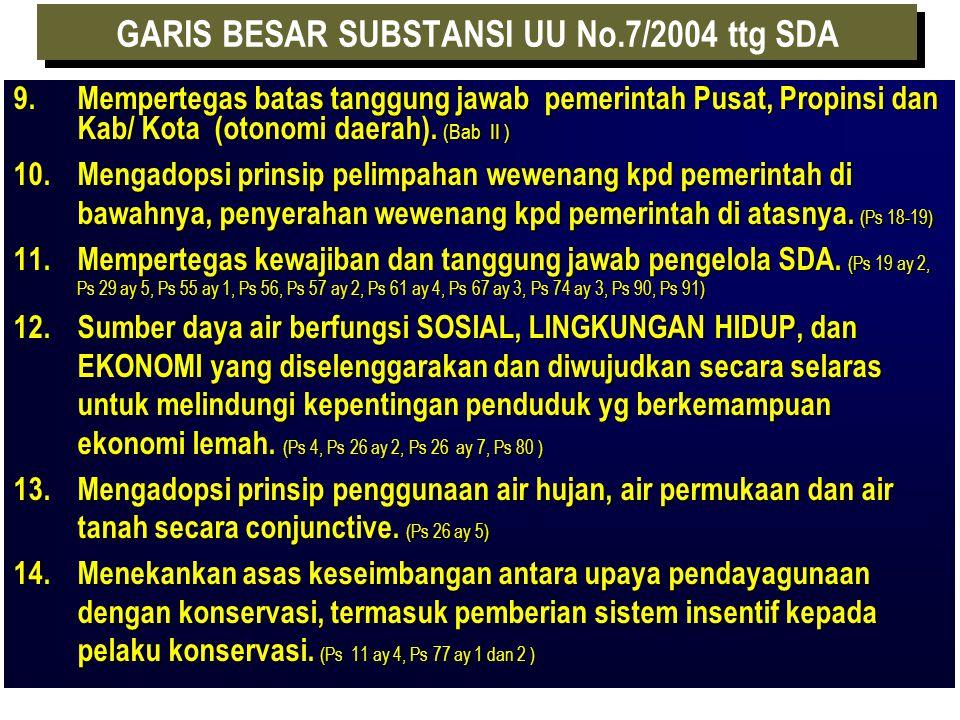 GARIS BESAR SUBSTANSI UU No.7/2004 ttg SDA 1. Cakupan Air diperluas = UU 11/1974 + air laut yg berada didarat. (Ps 1) 2.Substansi pengaturan lebih kom