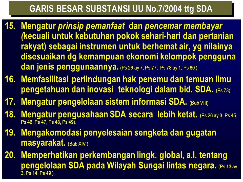 GARIS BESAR SUBSTANSI UU No.7/2004 ttg SDA 9. Mempertegas batas tanggung jawab pemerintah Pusat, Propinsi dan Kab/ Kota (otonomi daerah). (Bab II ) 10