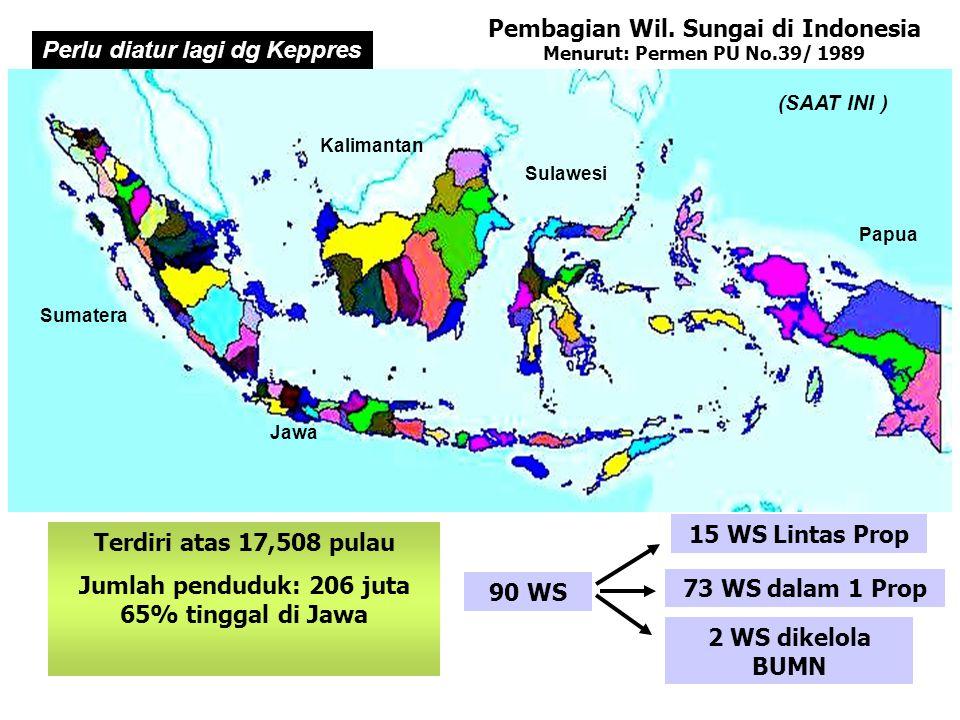 WILAYAH SUNGAI sebagai Basis Wilayah Pengelolaan S.D.Air Bagaimana wujud wilayahnya? Bisa berupa: SATU DAS (Cathment Area) Penggabungan DAS satu dg DA