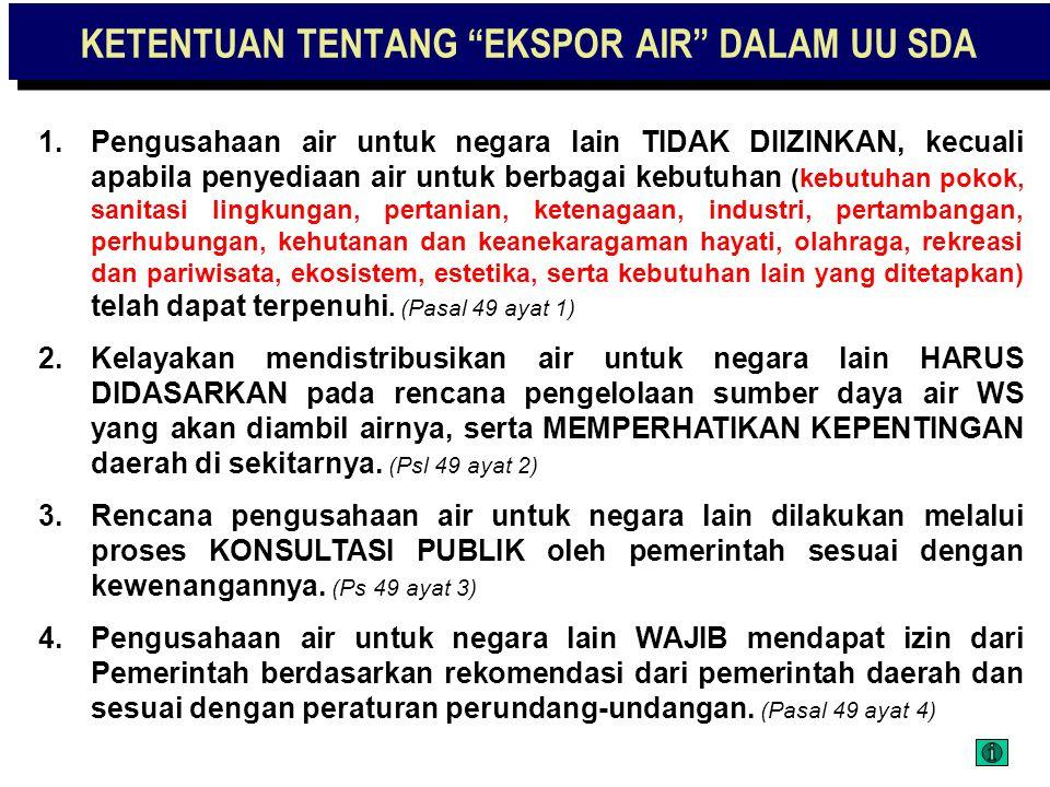 "ISSUE ""EKSPOR AIR"" 1.Bagaimana sikap politik kita mengenai EKSPOR AIR? 2.UU ini perlu menegaskan sikap politik kita: - Apakah EKSPOR AIR akan dilarang"